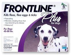 Merial Frontline Plus Flea/Tick Control 45 to 88-lbs Dogs, 6 Applicators