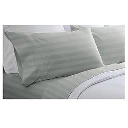 "Spirit Linen 400 TC Dobby Stripe BedSheet Set - Gray - Size: 90x102"""
