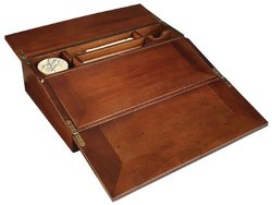 Campaign Lap Desk - Writing Set - Features Solid Wood Box in French Finish with Brass Accents - Includes Writing Tools and Ink - Authentic Models MG076F