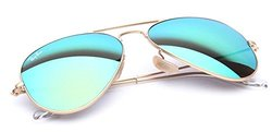 Ray-Ban Aviator Aviator Sunglasses - Matte Gold/Green Mirror Lens