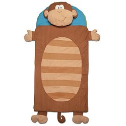Stephen Joseph Blue Nap Mat/Blanket/Removable Pillow - Monkey