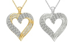 1.2cttw Diamond Heart Pendant In Sterling Silver - Yellow Plating