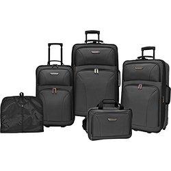 Traveler's Choice Versatile 5-Piece Luggage Set - Black