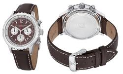 Stuhrling Original Men's Chronograph Leather Strap Watch - Brown/Silver