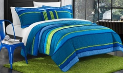Chic Home Noretta Multi-colored Ruffled Quilt - Blue - Size: Full-Queen