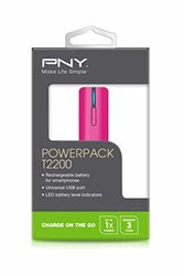 PNY T2200 Power Pack Universal Portable Rechargeable Battery Charger Pink (P-B-2200-1-P01-RB)