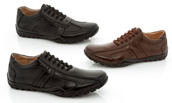 Adolfo Men's Lace-Up Fashion Sneakers - Mario-1: Brown - Size: 10