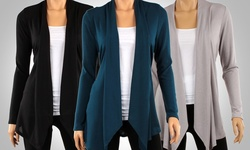 Ca Trading Women's Draped Hacci Cardigan 3 Pack - Black/Teal/Heather -Sz:S