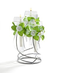 3 Light Glass Floating Candle Holder With Metal Stand - Silver (62999)