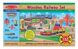 Melissa & Doug Kids Wooden Railway Set