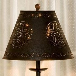 "Black Star Punched Tin 12"" Lamp Shade"