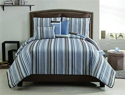 Morgan 7-Piece Reversible Quilt Set - Blue - Queen