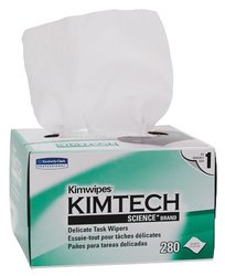 """Kimberly-Clark 34155 Kimtech Science Kimwipes Delicate Task Disposable Wiper, 8-25/64"""" Length x 4-25/64"""" Width, White (Case of 60 boxes)"""