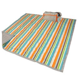 "LulyBoo Water Resistant 5x5"" Travel Blanket w/ Carry Bag - Summer Stripes"