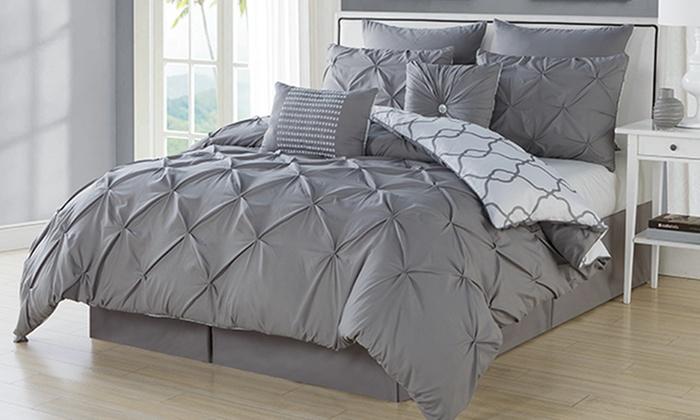 Esy Reversible Pintuck 8 Piece Oversize Comforter Set Taupe King