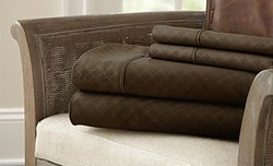 Dylan 4-Piece Embossed Microfiber Sheets: Champagne/Cali King