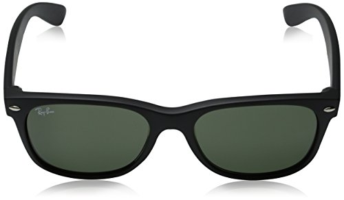 Ray-Ban New Wayfarer Sunglasses - Black Rubber Frame/Green Lens ...