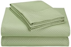 Microfiber Embossed Checkered Sheet Set: Light Green/queen