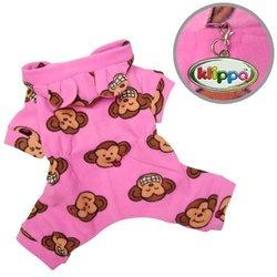 Klippo Pet Adorable Silly Monkey Fleece Dog Pajamas - Pink - Size: S