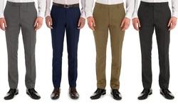 Braveman Men's Slim Fit Dress Pants: Navy-32/32