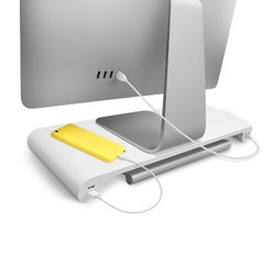 Quirky Spacebar Monitor Stand Plus 6-port Usb Hub: White (new)
