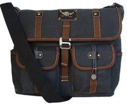 STIC Military Inspired Crossbody Messenger Bag - Black