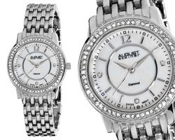 August Steiner AS8027SS Women's Dazzling Diamond Bracelet Watch