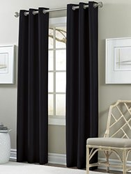 Amrapur Overseas Textured Black Out Curtain - Pack of 2 -Jet Black
