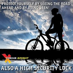 XTREME BRIGHT ILLUMILOCK BLADE Bike U-Lock, Headlight & Taillight Combination All-in-One. Hi Tech Security, Safety & Convenience for you and your bike