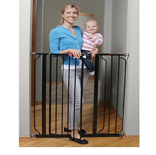 Regalo Deluxe Easy Step Extra Tall Baby Gate Black Check Back