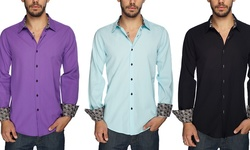 Harve Benard Men's Button-Down Dress Shirt - Bright White - Size: Small