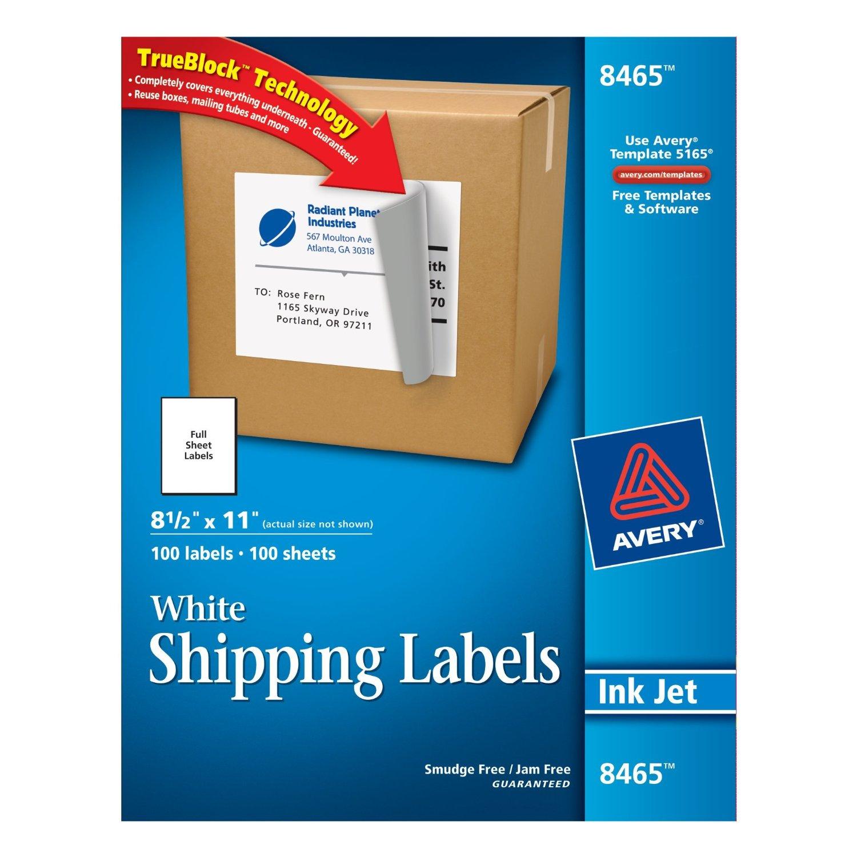 avery full sheet labels for inkjet printers 100 labels white
