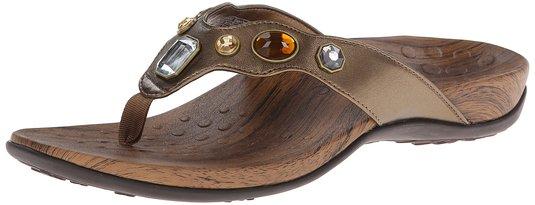 877e3a10ffc1d ... Orthaheel Vionic Eve Women s Thong Sandals - Bronze Metallic - Size 9  ...