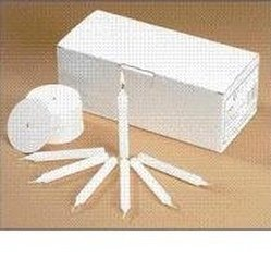 Church Vigil Devotional Unscented 1/2 x 4 1/4 Inch White Candle with Drip Protector - 100 per Box