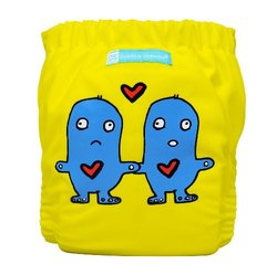 Charlie Banana 2-in-1 One Size Reusable Diapers - Lovey Dovey on Yellow