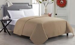 Victoria Classics Jackson Quilt Set - Taupe - Size: King