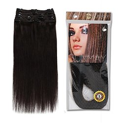 SUNMAY Remy Clip In Human Hair Extensions w/ 8 pcs Full Head Set - 18''75g