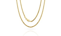 14k Solid Gold Unisex Italian Made Diamond Cut Rope Chain - 20''