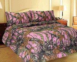 Regal Comfort Reversible Woodland Camo Comfofter - Pink - Size: King