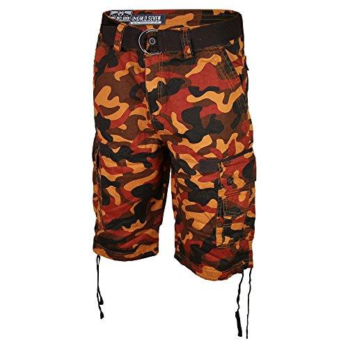 ... Men s Long Camo Cargo Shorts with Belt (Orange dc5b46feeed