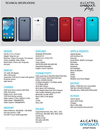 Unlocked Alcatel OneTouch POP C9 4GB Android Smartphone