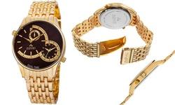 August Steiner Men's Swiss Dual Time Watch - Gold/Brown (ASGP8141BR)
