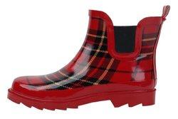Sunville Women's Short Ankle Rubber Rain Boots - Red Plaid - Sz:10 B(M) US