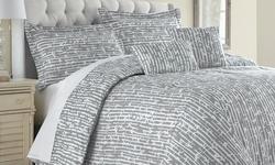 6pc Reversible Printed Bamboo Queen Comforter Set - Light Blue