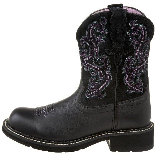 Ariat Women's Fatbaby II Western Boot, Black Deertan/Orchid, 7.5 M ...