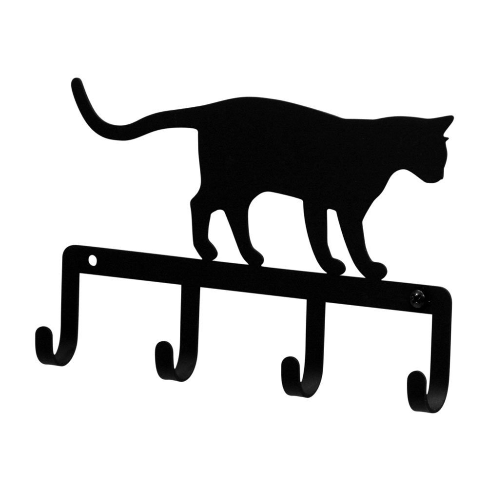 Iron Cat At Play Key Rack Jewelry Holder Pet Leash Hanger Black