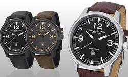 Stuhrling Original Men's Swiss Aviator Leather Strap Watch