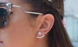 Golden Moon Women's Rhodium Plated Sterling Silver CZ Halo Hook Earrings