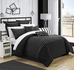 Chic Home Brenton Super Rich Embroidered Comforter - Black - Size: King