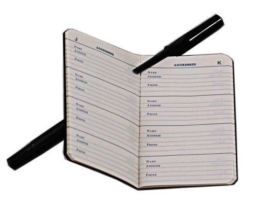 2 classic black mini address books small pocket size check back